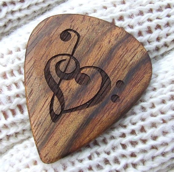 Wood Guitar Pick  Handmade Custom Engraved by NuevoWoodcrafts