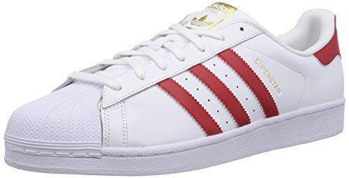adidas Superstar Foundation, Herren Sneakers, Weiß (Ftwr White/Scarlet/Ftwr White), 48 2/3 EU - http://uhr.haus/adidas/48-2-3-adidas-superstar-supercolor-schuhe-12-5-navy