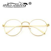 QUE CHICA de Oro de Metal Marco de Anteojos Mujeres Gafas Vintage Glasses Clear…