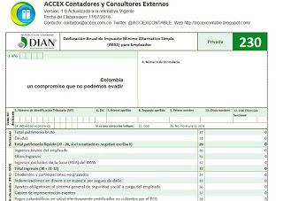 ACCEX: [Formulario 230 Excel] Declaración (IMAS) Anual de Impuesto Mínimo Alternativo Simple para Empleados año gravable 2015