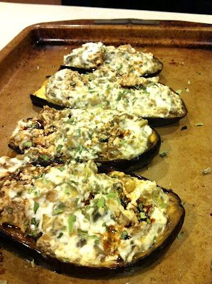 Ricotta and Artichoke Stuffed Eggplant -- a great side dish or appetizer.