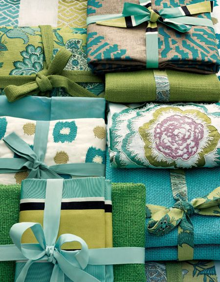Beautiful range of Manuel Canovas aqua, lime and turquoise upholstery fabrics