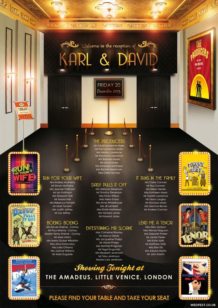 theatre themed wedding seating plan  civil partnership