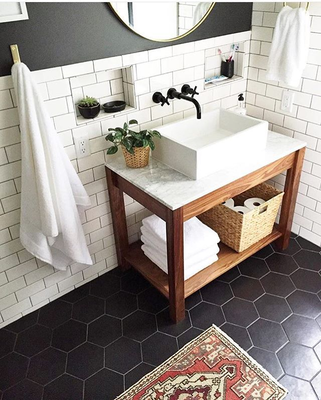 Love the raised sink but probably not the best choice for a bathroom that will eventually be for kids.