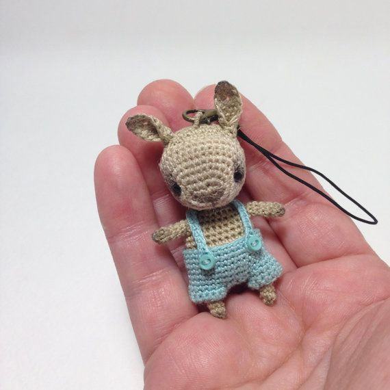 Crochet beige bunny with bobble head mini amigurumi by LozArts