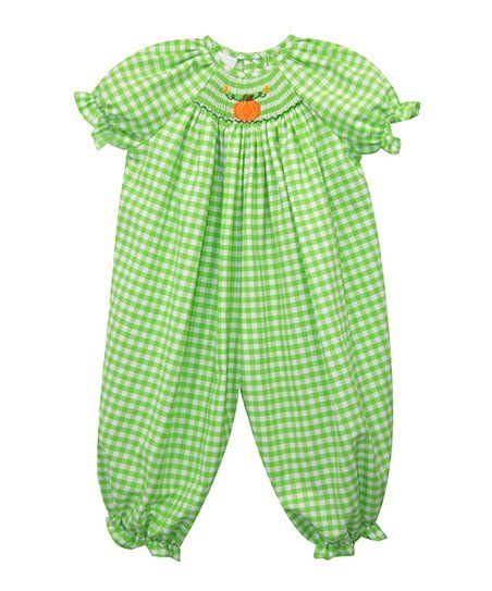 Green Pumpkin Smocked Bubble Bishop Playsuit - Infant | zulily