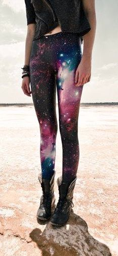 Galaxy leggings ~ You might think they're ugly, but actually quite in-trend right now