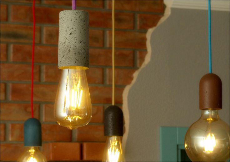 Pendant lighting, concrete lamp holder various colors. Good looking in loft interior, industrial style. Three diferent shapes are available.