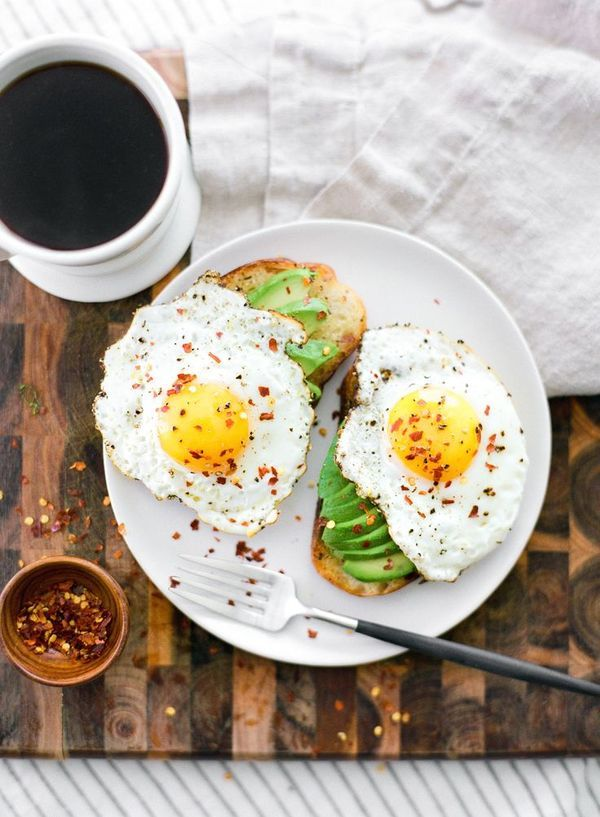 Coffee, avocado toast, and eggs.