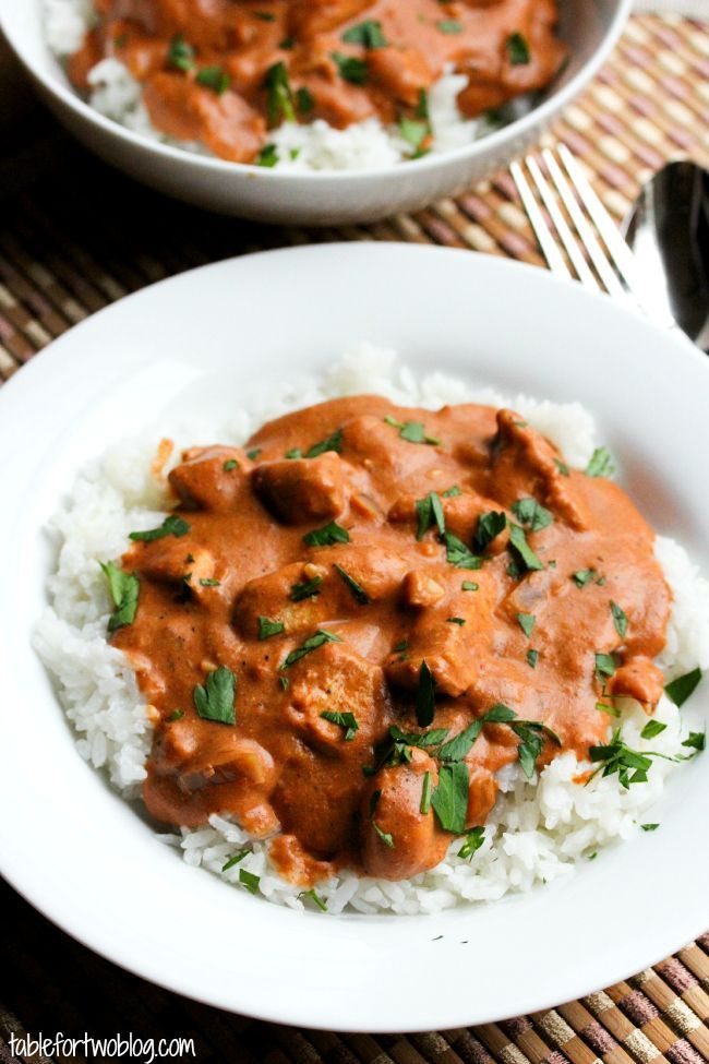 "Chicken Tikka Masala (Crockpot). Delicious! And makes a ton, so cook it up and have some leftovers for a couple days! It calls for 1-3 tsp. cayenne, depending on how spicy you like things. When we made it with 1 tsp., it was plenty spicy for us (& we like spice), so be gentle! 1/2 tsp. seems to work well, giving it a little ""kick"" without being too spicy for the kids. You can always add more at the end if you so desire. Serve with basmati rice, naan & tomatoes. Mmmmm! JS"