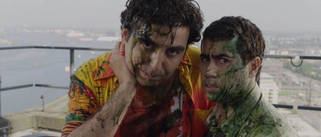 This is a screenshot of the dutch zombie comedy movie called 'Zombibi' I was one of the make up artists for this movie. The actors you see are: Mimoun Ouled Radi & Yahya Gaier