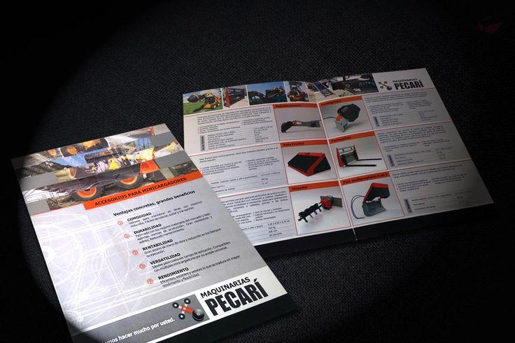 Diseño de Catálogo de Productos para Maquinarias Pecarí, empresa fabricante de maquinaria para la construcción, en Argentina.