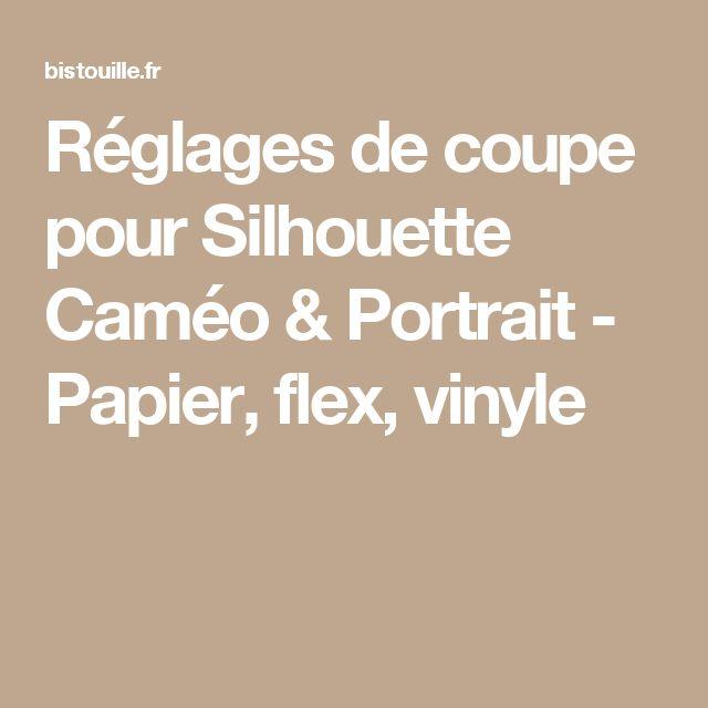 Réglages de coupe pour Silhouette Caméo & Portrait - Papier, flex, vinyle
