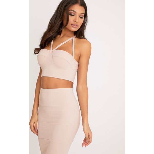 Lindy Nude Bandage Strappy Crop Top ($15) ❤ liked on Polyvore featuring tops, pink, strappy top, cropped tops, strap crop top, bandage top and strappy crop top