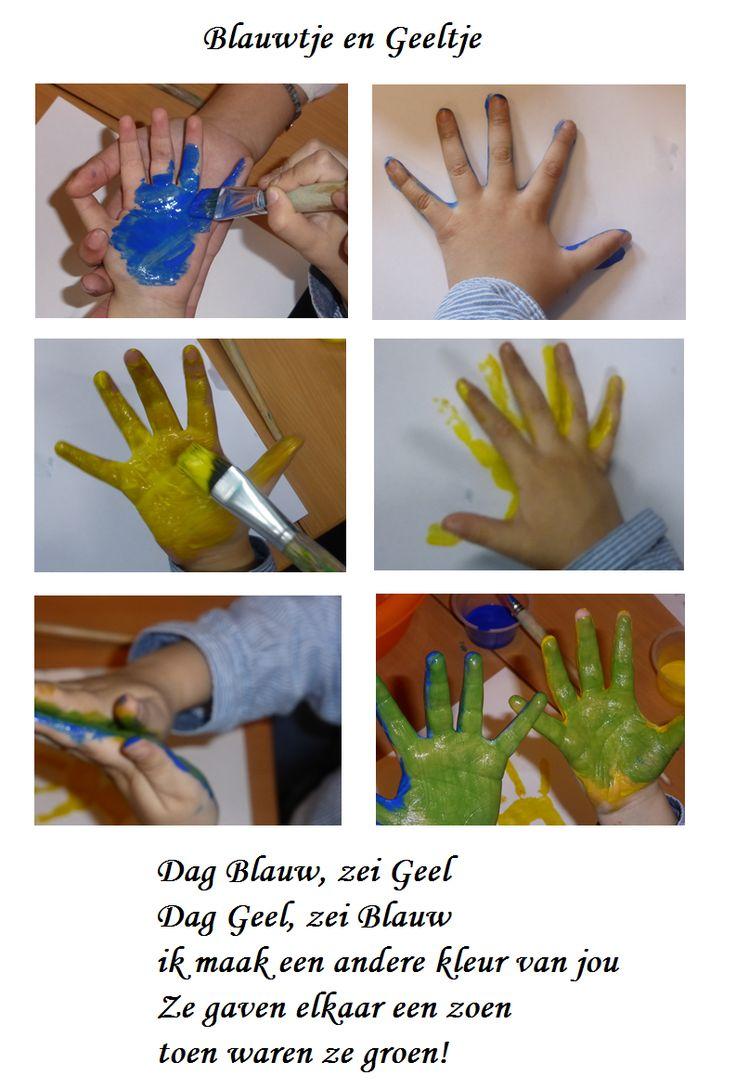 Blauwtje en Geeltje. Leuke activiteit met gedichtje. http://digibordonderbouw.nl/index.php/themas/val/valentijn/vrienden/blauwtje-en-geeltje