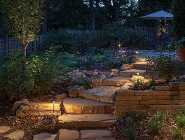 Ideas for Lighting Your Outdoor Steps -  Keeping things simple. Sometimes all that's needed are light fixtures alongside the steps. The style of these outdoor lights fits in well with the overall garden, so they're equally decorative during daylight hours.