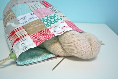 Drawstring knitting project bag tutorial | Sewing | Pinterest ...