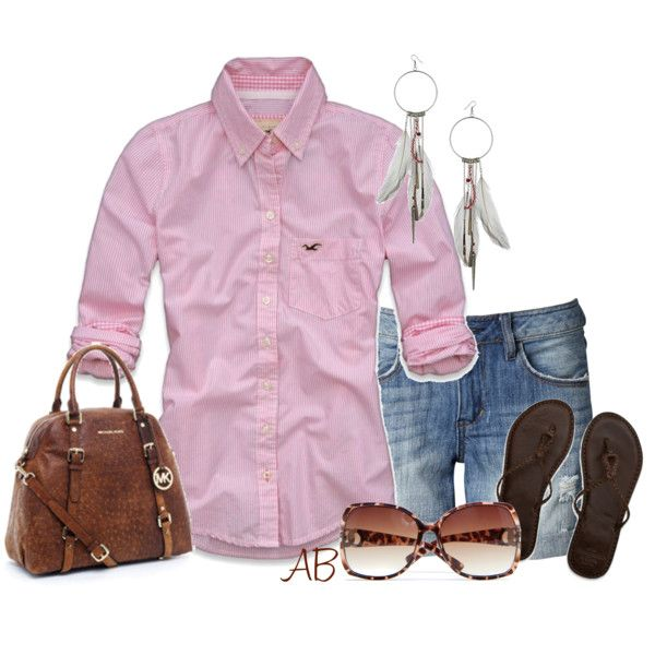 Pink and denimPolyvore Outfit