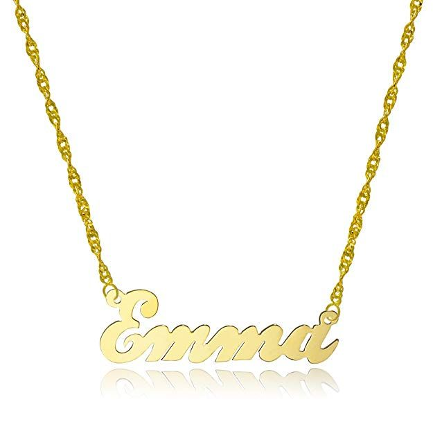 Amazon Com Pyramid Jewelry 10k Yellow Gold Personalized Name Necklace Style 4 16 Inches Singapore Chain With Images Solid Gold Necklace Name Necklace Fashion Necklace
