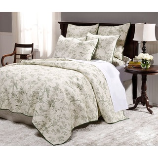 @Overstock - Add a stylish touch to your bedroom with this toile green, queen-size quilt set. A floral and bird pattern finish this set of standard shams and a quilt. http://www.overstock.com/Bedding-Bath/Lyon-Toile-Green-Queen-size-Quilt-Set/6626465/product.html?CID=214117 $79.99