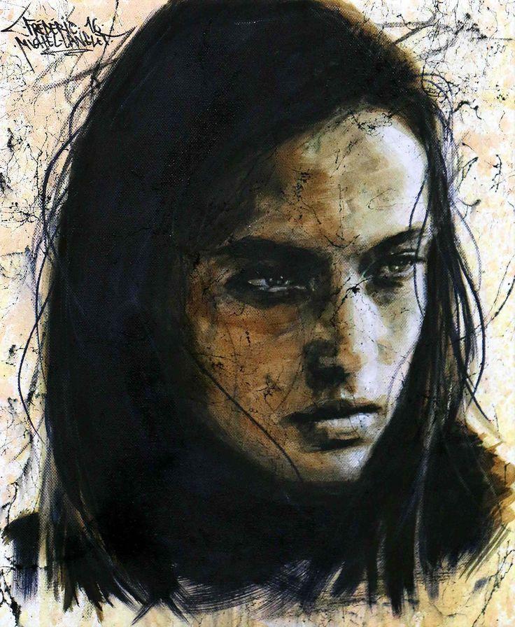 "Hannah Ferguson / Collection ""Marbre"" / 33 x 41 cm / Modèle : #Hannahferguson / #portrait #art #sketch #fredml #charcoal #drips #ink #expression #dark #trash #pencil #acrilyque #trash #marbre #spider #black #brown"