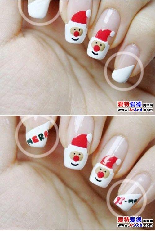 Uñas navideñas de Papá Noel - http://xn--decorandouas-jhb.com/unas-navidenas-de-papa-noel/