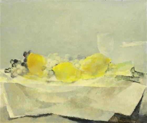 (1889-1960) Früchtestillleben mit Zitronen und Trauben by Rodolphe-Théophile Bosshard