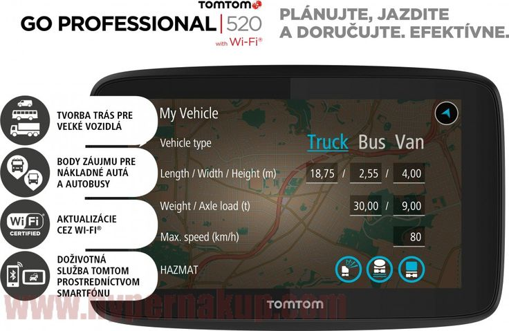 """Profesionálne navigačné zariadenie určené pre veľké vozidlá.Služba TomTom Traffic prostredníctvom smartfónuDoživotná službu TomTom Traffic a Rýchlostné radaryBody záujmu určené pre nákladné vozidlá a autobusyAktualizácia prostredníctvom Wi-Fi®Trasy pre nákladné vozidlá, autobusy, dodávky a automobilySprávy zo smartphonuUpozornenie na stojace dopravuPlánovanie trasy v službe MyDriveDoživotná mapyobrazovkaVeľkosť displeja: 5 """"(13 cm) dotyková obrazovkaRozlíšenie obrazovky: WVGARozlíšenie o..."""