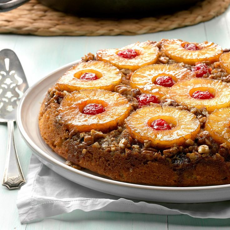 Spiced Pineapple Upside-Down Cake Recipe -I often bake this beautiful cake in my large cast-iron skillet and turn it out onto a pizza pan. —Jennifer Sergesketter, Newburgh, Indiana