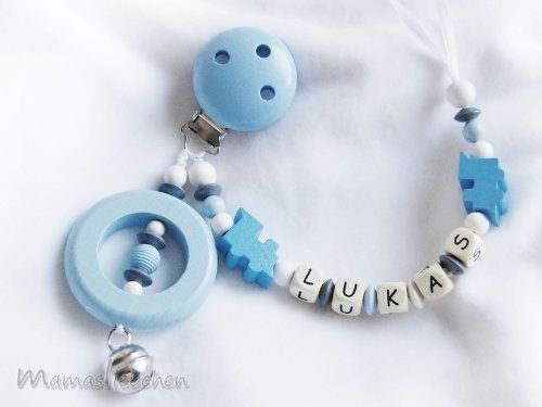 Personalized pacifier clip with wooden letter beads model 1069, handmade by mamasliebchen easy to use - thanks to the loop, compatible with all pacifiers, such as soothie, MAM, NUK and ohers. unique - which makes it a perfect baby gift. handmade - every mamasliebchen pacifier chain is made by our one hands. customized - I will put a name into the chain up to 7-9 letters, depending on the model. sa... #mamasliebchen #Baby_Product