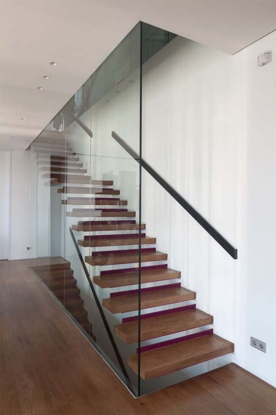 Full Glass Wall Staircase With Cantilever Timber Treads
