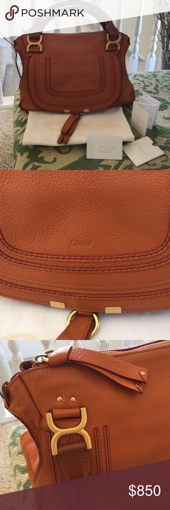 Chloe Marcie (medium) Authentic Chloe Marcie! Barely used in dark orange color. Soft leather that's a signature of Chloe. I lost a buckle of the strap that came with it. But you can take it to the Chloe boutique & maybe they can replace it.  It will come with dust bag & tags that came with it.  I DO NOT buy or/and wear fakes! Chloe Bags Shoulder Bags