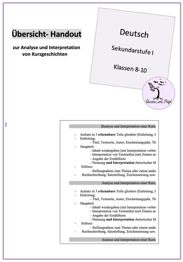 Handout zur Analyse von Kurzgeschichten Sekundarstufe I