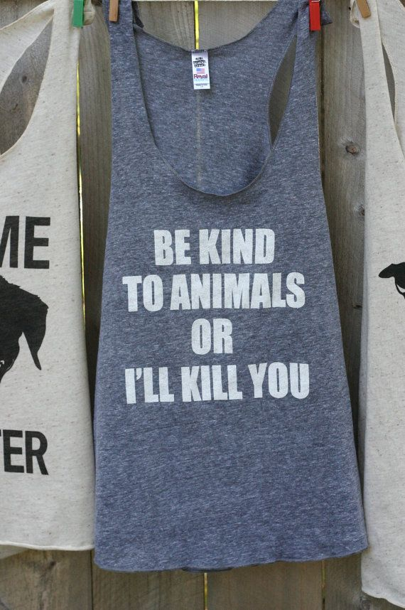 Large-Animal rights rescue remake Charcoal grey t shirt Be kind to animals, on Etsy, $23.42 CAD