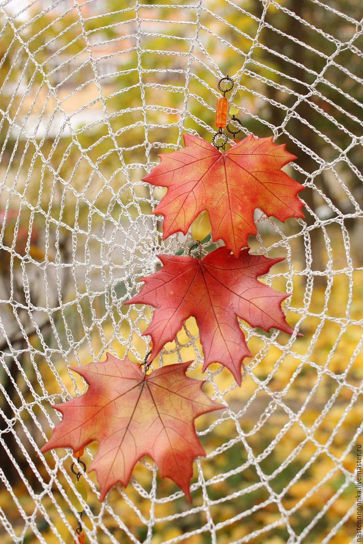 """Купить Колье """"Кленовые листья"""" - оранжевый, клен, листья ручной работы, кленовые листья"""