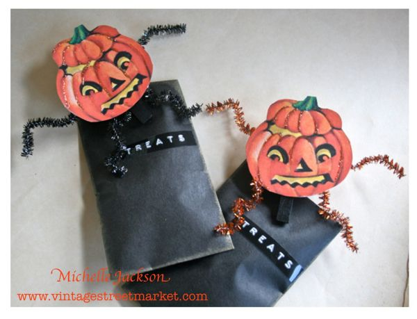 Vintage Pumpkin People Treat-Bag clips. The perfect topper to a Halloween treat bag! Find details at: www.vintagestreetmarket.com
