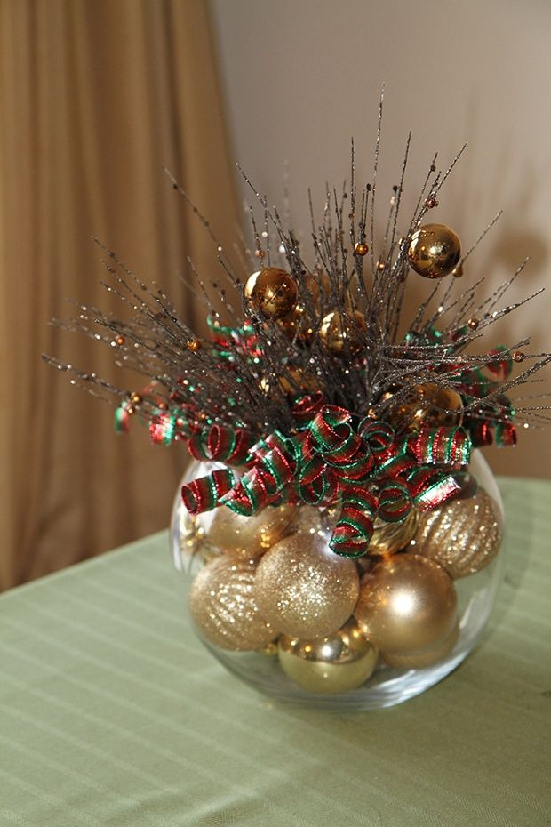 Easy but effective table centerpiece for Christmas. Could buy ornaments at the Dollar Store to save even more money!