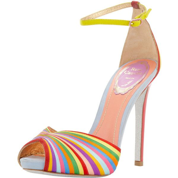 Rene Caovilla Multicolor Stripe Ankle-Wrap Sandal ($551) ❤ liked on Polyvore featuring shoes, sandals, heels, heeled sandals, multi color sandals, rene caovilla sandals, peep toe sandals and leather ankle strap sandals