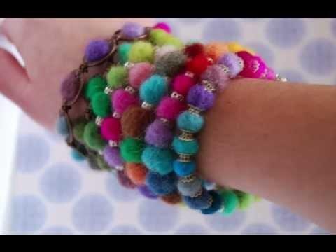 My Creations/ Mis Creaciones  Afileteros en forma de setas y pulseras de bolas de fieltro con forniutras.