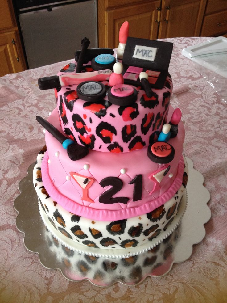Leopard Print 21st Makeup Birthday Cake Cakes And More