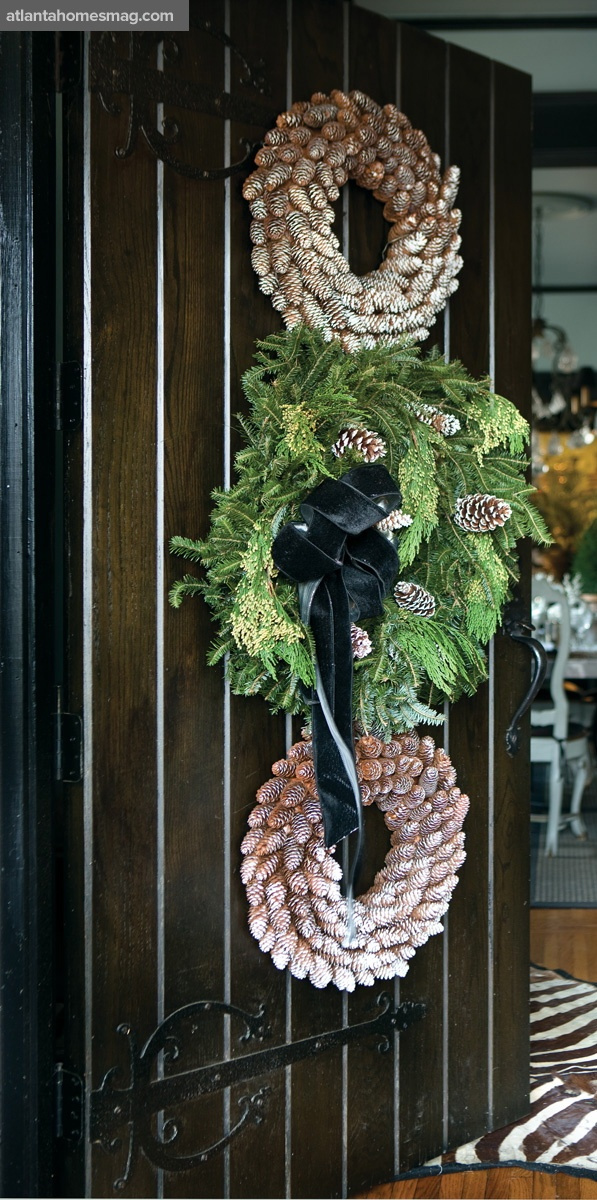 Velvet ribbon on an outside wreath is gorgeous...just hope it wont fade in the sunshine-filled days before Christmas