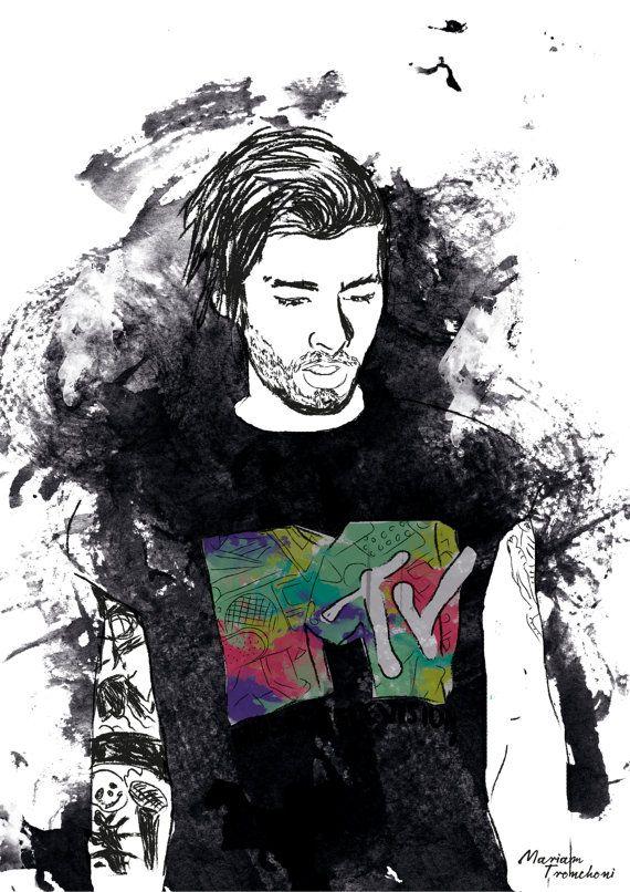 Zayn Malik One Direction Artprint Illustration Poster