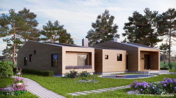 Тренд-104 Проект современного удобного одноэтажного дома с двускатной кровлей