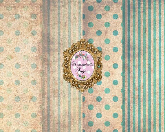 Shabby Chic DIGITAL Paper Collage Sheet  set by mademoiselleSugar