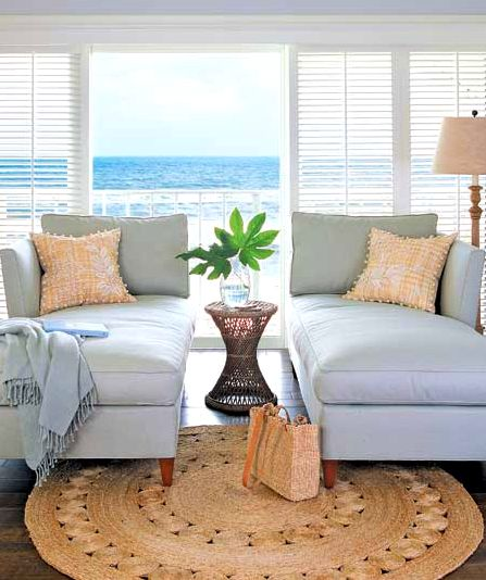 Coastal Decorating With Round Natural Fiber Rugs  Shop The Look