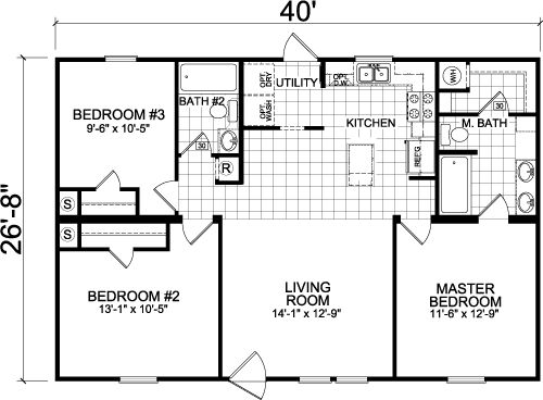 Willow manor 4403m2 3 bedrooms 1067 square feet 40 39 x26 39 8 for 40x40 2 story house plans