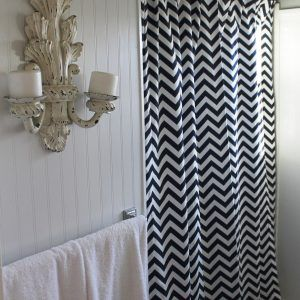 Navy And Gray Chevron Shower Curtain