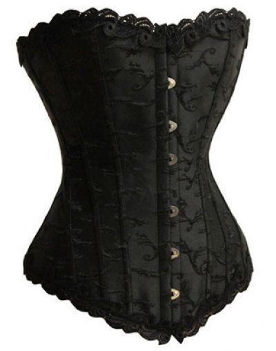 Free Shipping 2015 Black Satin Lace Up Corset Boned Corset Bustier plus size corset