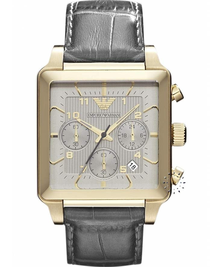 Emporio Armani Chronograph Grey Leather Strap, 399€ http://www.oroloi.gr/product_info.php?products_id=30879