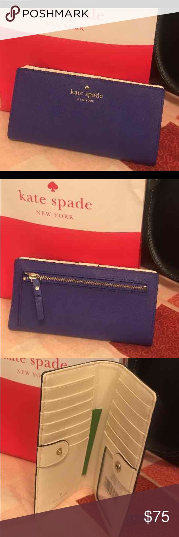 Kate Spade Mikas Pond Stacy wallet NWT  vibrant Baja Blue cross hatched leather with gold tone accents. Matching Charlotte Street Alek crossbody is also available kate spade Bags Wallets